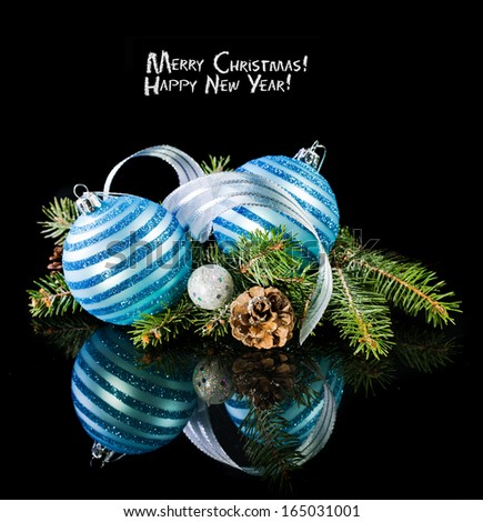 Christmas card with Christmas balls on a dark background - stock photo