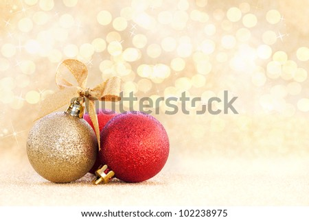 christmas card with christmas ornaments and copy space - stock photo