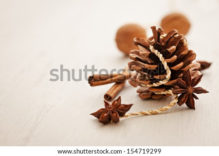 christmas card with cone and copy space  - stock photo