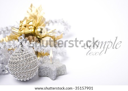 Christmas card with copy space on white background. - stock photo