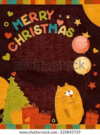 Christmas card with cute cat  - stock photo