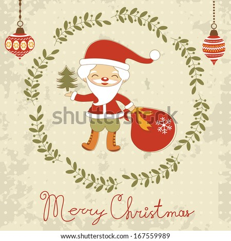 Christmas card with cute Santa. Raster version - stock photo