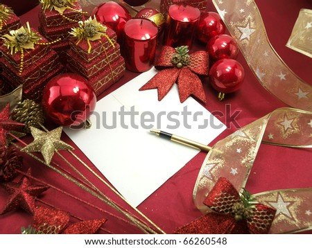Christmas card with decorative red ornaments