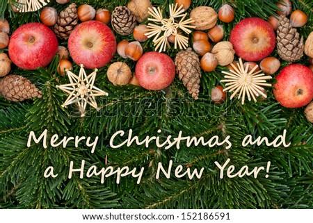 christmas card with fir and apples/christmas card/christmas - stock photo