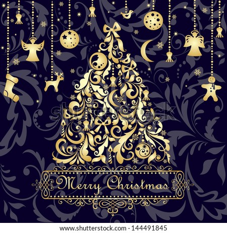 Christmas card with gold xmas tree. Raster copy of vector image - stock photo