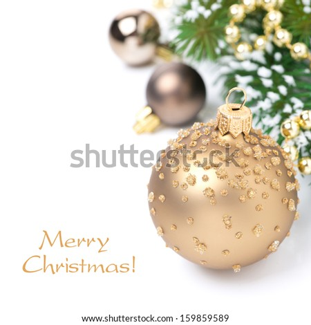 Christmas card with golden Christmas balls and fir branches, isolated on white - stock photo