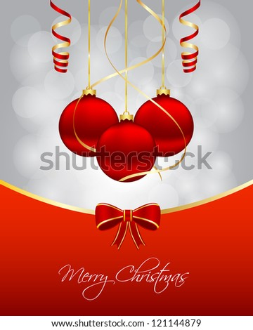 Christmas card with hanging balls. Vector available. - stock photo