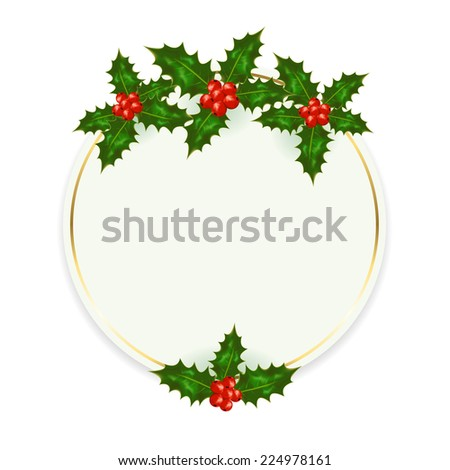 Christmas card with Holly berries isolated on white background, illustration.