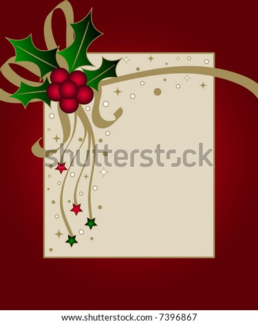 Christmas card with holly ribbons and stars