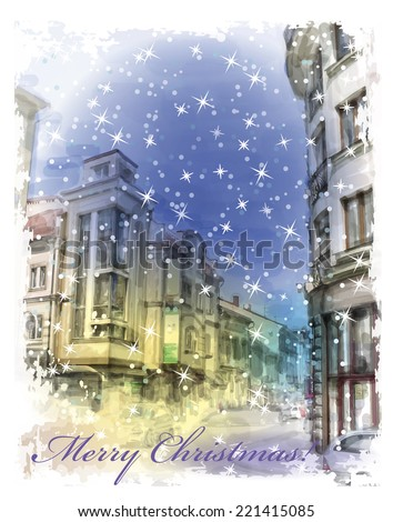 Christmas card  with illustration of city street.  Watercolor style. - stock photo