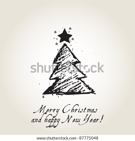 Christmas card with ink Christmas tree, vintage - stock photo