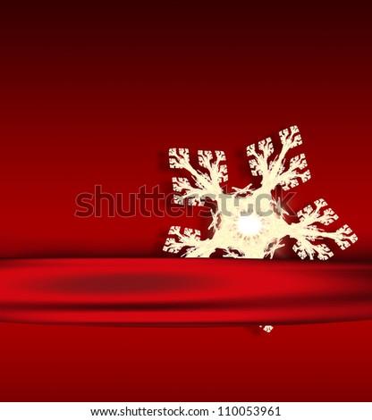 christmas card with light snowflake - stock photo