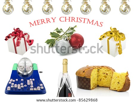 Christmas card with many object - stock photo
