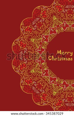 Christmas card with Merry Christmas text with decorations. Nature Floral ornament as a snowflake circle silhouette: berry, flower. Brown, red, purple, yellow colors. - stock photo