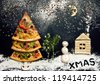 Christmas card with pizza tree and snowman, Xmas card. Naturmort - stock photo