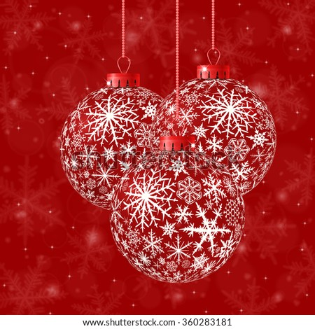 Christmas card with red balls and snowflakes on red background. Raster version. - stock photo
