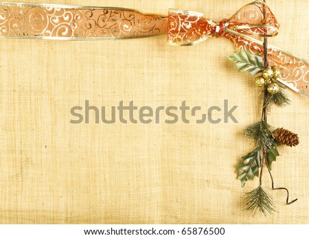 christmas card with red ribbon and branch - stock photo