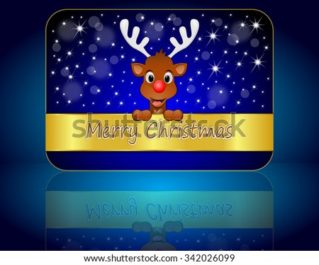 Christmas card with Reindeer wishing Merry Christmas - stock photo