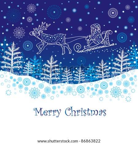 Christmas card with Santa - stock photo