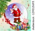 Christmas card with Santa Claus - stock photo