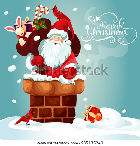 Christmas card with Santa Claus on the roof. Santa with gift bag full of present box, candy cane, holly berry and toy gets into the chimney. Merry Christmas festive poster design. Vector in gallery