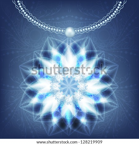 Christmas card with shiny snowflakes and beads. Raster copy of vector image - stock photo