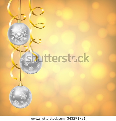Christmas card with silver balls with snowflakes ornament on golden shiny background - stock photo