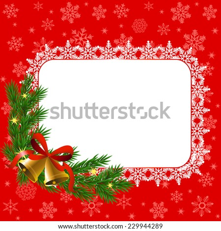 Christmas card with snowflake frame and bells