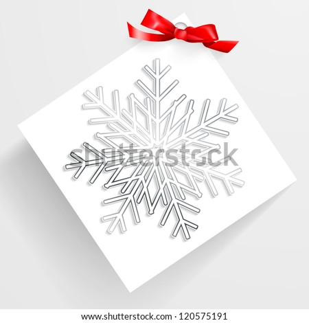 Christmas card with snowflakes and bow.