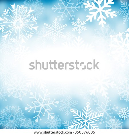 Christmas card with snowflakes on blue background for your design. Winter card Merry Christmas, New Year and Happy Holiday. - stock photo