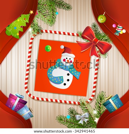 Christmas card with snowman, bow and pine tree - stock photo