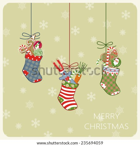 Christmas card with socks and gifts. Raster version - stock photo