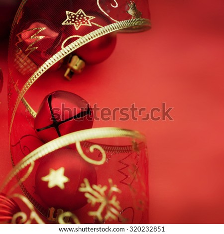 Christmas card with space and christmas decoration - stock photo