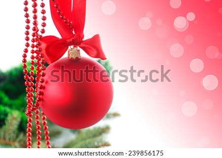 Christmas card with toys on white background - stock photo