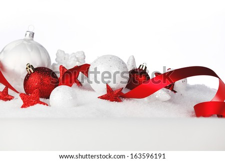 Christmas card with white and red decoration - stock photo