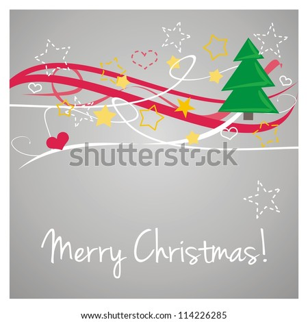 Christmas card with wishes. Classic illustration with grey background, white, red, green and yellow trees and stars & Merry Christmas message - stock photo