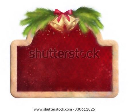 Christmas card. Wooden border frame, fir tree branches and bells - stock photo