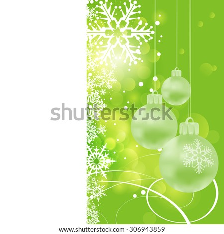 Christmas card. Xmas balls on blue background. Christmas wallpaper, Christmas baubles, Xmas lights - stock photo