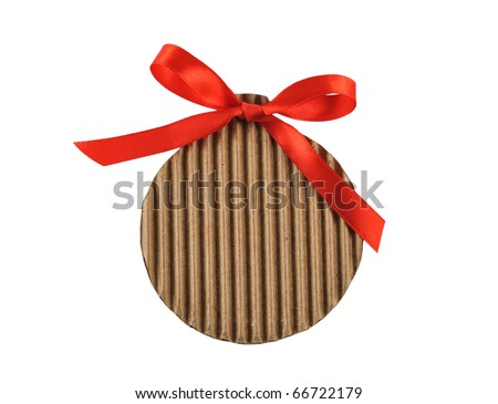 christmas cardboard tag isolated on white background - stock photo