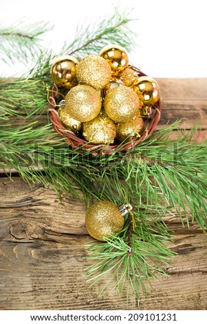 Christmas cards with golden shiny balls