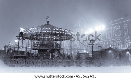 Christmas carousel on the Red square (black and white) - stock photo