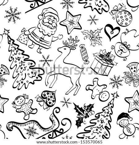 Christmas cartoon seamless pattern for holiday design, black contours on white background.