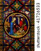 Christmas Cathedral stained glass window Jesus Maria Josef - stock photo