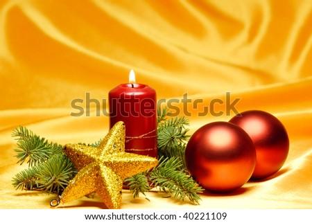 Christmas Celebration-Christmas ornament on silky background. - stock photo