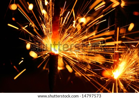 christmas celebration sparklers - stock photo