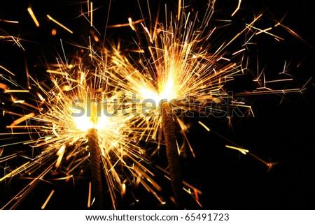 christmas celebration sparklers - stock photo