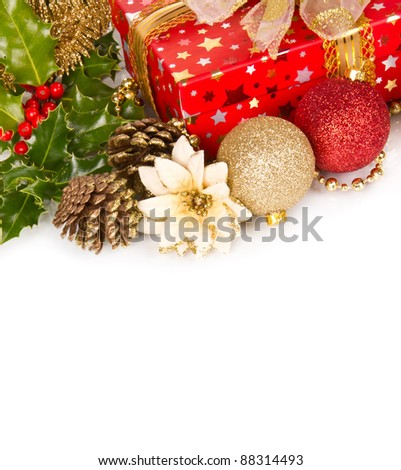 Christmas celebration still life with free space for text, isolated on white background - stock photo