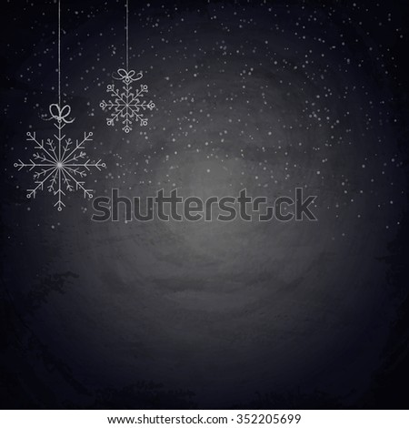 Christmas chalkboard background with snowflakes - stock photo