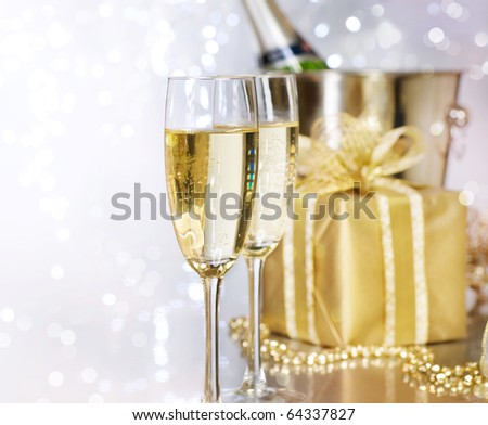Christmas Champagne - stock photo