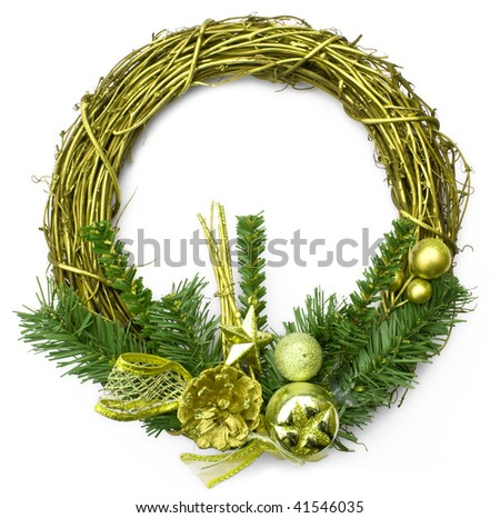 christmas chaplet isolated on a white backgrounds - stock photo